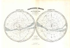 Antique 1870 Map of Stars Zodiac