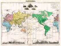 Antique 1870 World Map Stock Images