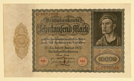 Antique 1922 German Y 10000 Deutsche Mark Royalty Free Stock Images