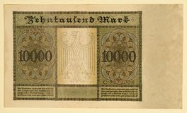 Antique 1922 German Y 10000 Deutsche Mark, Back Royalty Free Stock Photography