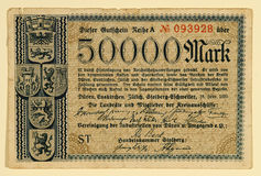 Antique 1923 German 50000 Mark Stock Image