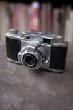 Antique 35mm Camera. An old metal range finder camera royalty free stock images