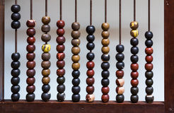 Antique abacus with painted wooden beads Stock Image