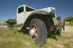 An antique abandoned truck on the roadside near Barstow, CA off of Route 58 Royalty Free Stock Image