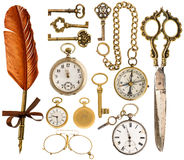 Antique accessories. antique keys, clock, scissors, compass. Collection of golden antique accessories. vintage keys, clock, ink pen, scissors, compass, glasses royalty free stock image