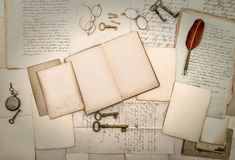 Antique accessories and office tolls, old letters and postcards Stock Photography