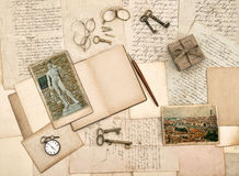 Antique accessories, old letters, diary book and photos from Flo Royalty Free Stock Photo