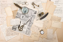 Antique accessories, old letters and postcards. ephemera. Antique accessories, old letters and postcards, vintage ink pen. nostalgic sentimental background Royalty Free Stock Photography