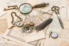 Antique accessories, old letters and postcards royalty free stock photos