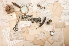 Antique accessories old letters vintage writing tools paper back. Antique accessories, old letters and vintage writing tools. Nostalgic sentimental paper stock images