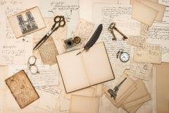 Antique accessories, Paris postcards, old letters, ink pen royalty free stock photos