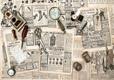 Antique accessories, sewing and writing tools, vintage advertisi Stock Photography