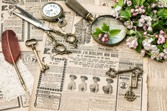 Antique accessories writing tools vintage fashion magazine Royalty Free Stock Image