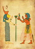 Antique Aegypt - painting of goddess Sekhmet and pharaoh Ramses Stock Photos
