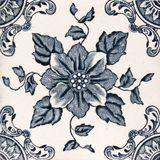 Antique Aesthetic design tile. An Aesthetic period original tile dating around 1880 with floral design Stock Photography