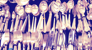 Antique aged and tarnished silver cutlery, London Stock Photos