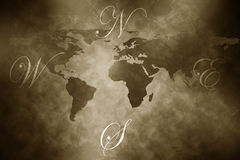 Antique aged world map Royalty Free Stock Image