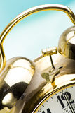 Antique alarm clock. Detail of the chimes on an antique gold alarm clock Royalty Free Stock Photos