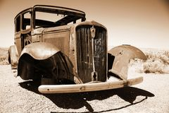 Antique american car in the desert Royalty Free Stock Image