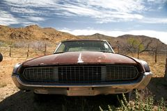 Antique american car in the desert Stock Image