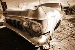 Antique american car in the desert Stock Photo