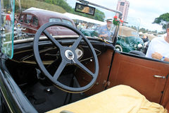Antique american car interior at event Royalty Free Stock Photo