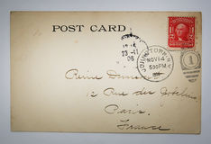 Antique american postcard with stamp from NY Stock Image