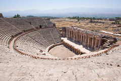Antique amphitheater in the ancient city of Hierapolis. Pamukkale, Turkey Royalty Free Stock Photography