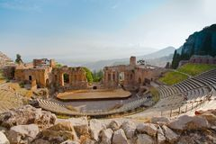 Antique amphitheater Teatro Greco, Taormina Stock Photos