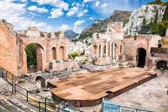 Antique amphitheater Teatro Greco in Taormina, Sicily. Italy.It is one of the most celebrated ruins in Sicily Royalty Free Stock Images