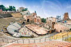 Antique amphitheater Teatro Greco in Taormina, Sicily. Italy.It is one of the most celebrated ruins in Sicily Stock Images