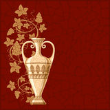 Antique amphora with grapes and leaf. Excellent wine background Royalty Free Stock Photography