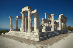 Antique Aphaia temple in Aegina Island, Greece Royalty Free Stock Photos