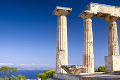 Antique Aphaia temple on Aegina Island, Greece. Antique Aphaia temple and Mediterranean Sea on Aegina Island, Greece Royalty Free Stock Photography