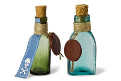 Antique apothecary bottles. Two antique apothecary bottles for medicines isolated on white Royalty Free Stock Photo