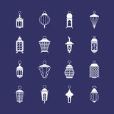 Antique arabic ramadan light lanterns muslim vector icons Royalty Free Stock Images