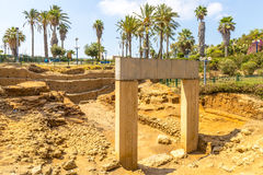 Antique arch and Blooming garden in Jaffa, Israel Stock Images