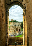 Antique arch of Constantine from Coliseum, Rome. ROME, ITALY - OCTOBER 1, 2012: Antique arch of Constantine the Great. View from Coliseum Royalty Free Stock Images