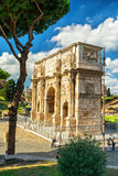 Antique arch of Constantine the Great in Rome. ROME, ITALY - OCTOBER 4, 2012: Antique arch of Constantine the Great Royalty Free Stock Photos