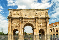 Antique arch of Constantine, Rome. Antique arch of Constantine near Coliseum, Rome, Italy Royalty Free Stock Photo