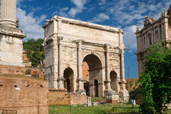 Antique Arch of Emperor Septimius Severus Stock Photography