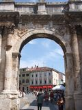 Antique arch of Sergii in Pula. Antique arch in Carrarina street in Pula, Croatia Royalty Free Stock Images