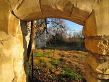 Antique Archway Historic Ruin in South of France stock photo