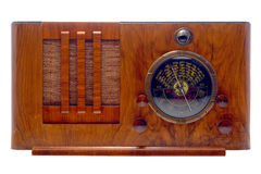 Antique Art Deco Tube Radio Isolated on White Royalty Free Stock Images