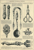 Antique Art Journal Illustrated Catalogue Page. An illustrated page from an antique art journal catalogue featuring kitchen utensils vector illustration