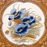 Antique Art Nouveau pansy tile Stock Photos