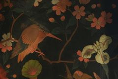 Antique asian bird pattern. Antique chinese bird decor plate detail Royalty Free Stock Photos