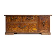 Antique asian drawer chest  on white Royalty Free Stock Photo