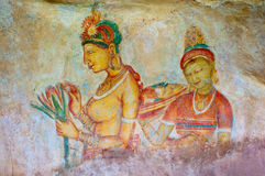 Antique asian fresco with naked woman Royalty Free Stock Images
