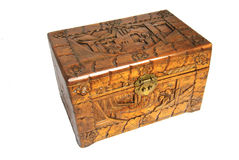 Antique Asian hand carved box isolated Stock Photo
